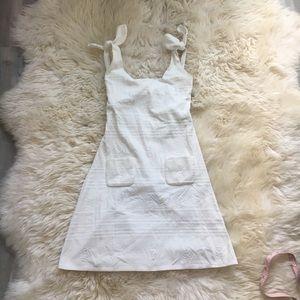 Chanel 06C white ribbon shoulder dress 38 S